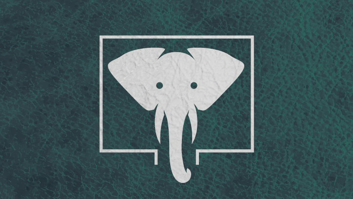 the elephant in the room logo, featuring a foiled pachyderm face on a green faux-leather background