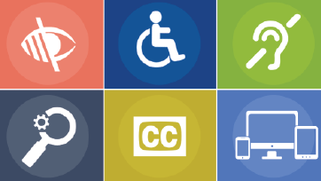 several accessibility symbols laid out on a grid