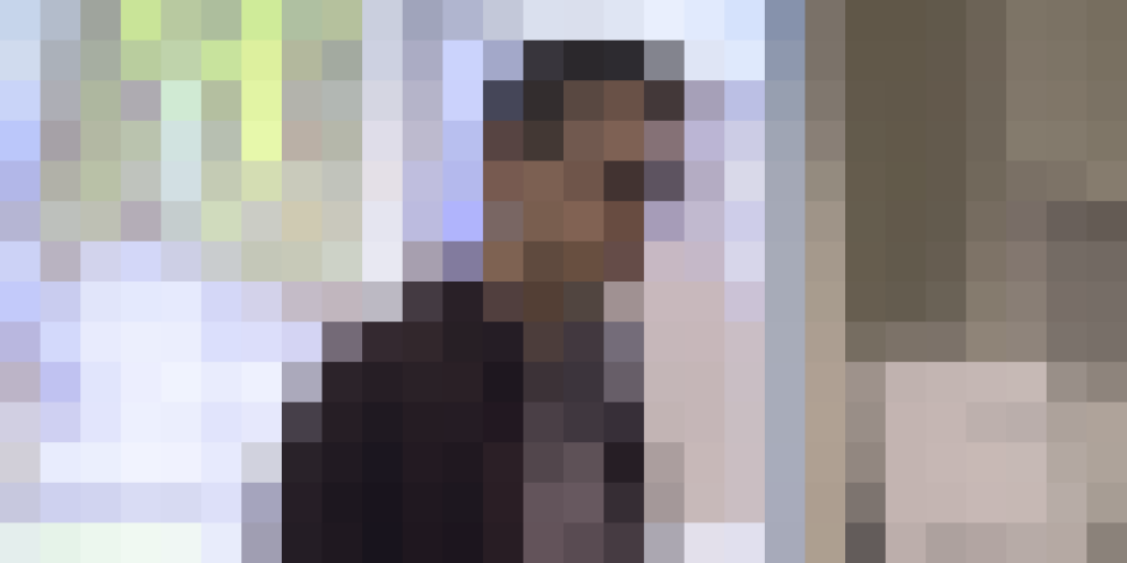 a heavily pixelated picture of michael
