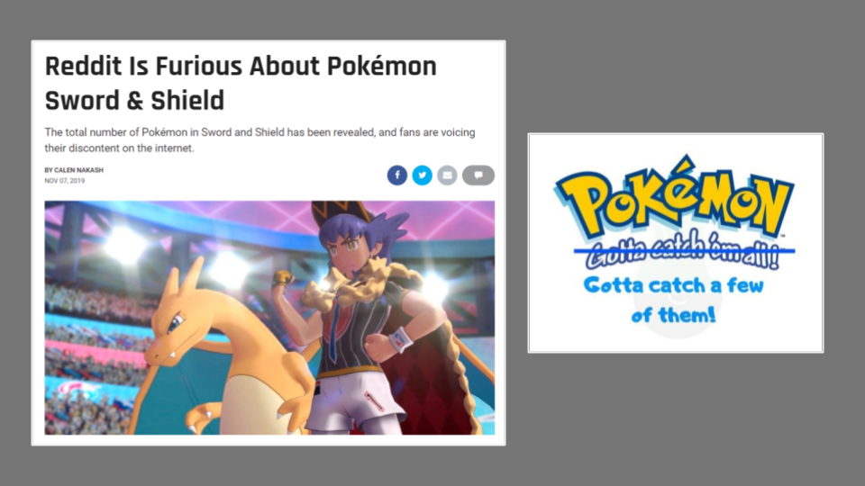 """a headline from a gaming press magazine that reads """"Reddit is furious about Pokemon Sword & Shield"""""""