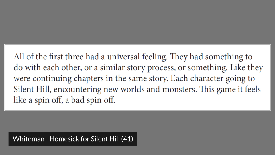 a quote from Natasha Whiteman's article on Silent Hill fan communities