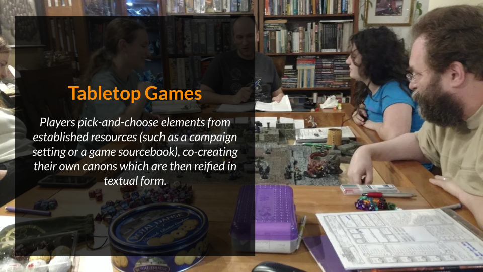 """a slide titled """"tabletop games"""" and featuring a dungeons and dragons group around a table"""
