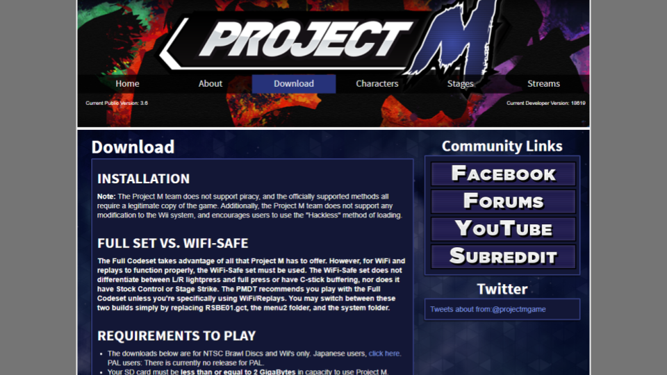 an archived version of the Project M website
