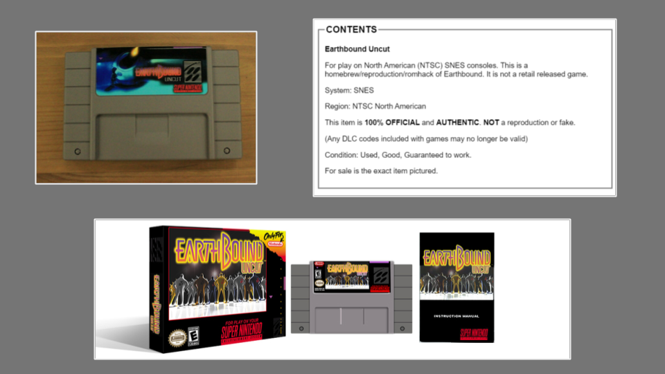 a selection of Ebay images featuring EarthBound uncut