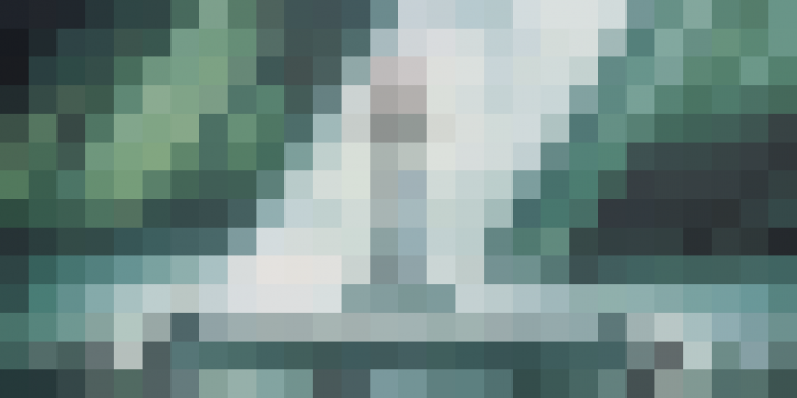 A heavily pixelated image of the Master Sword