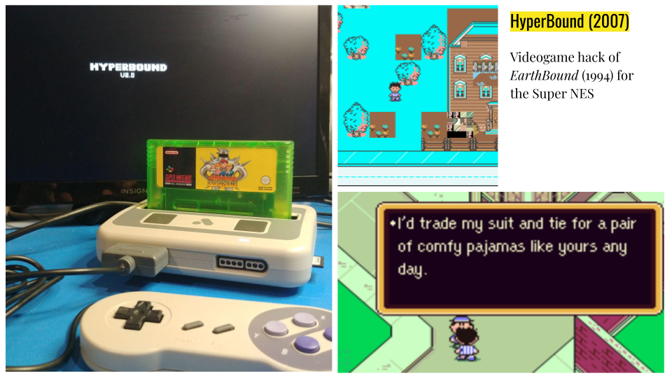 a series of photographs that show off hyperbound, a videogame hack made cartridge