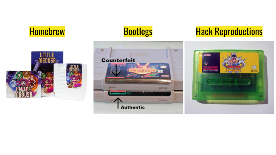 a presentation slide that shows homebrew, bootleg, and hack reproduction cartridge examples