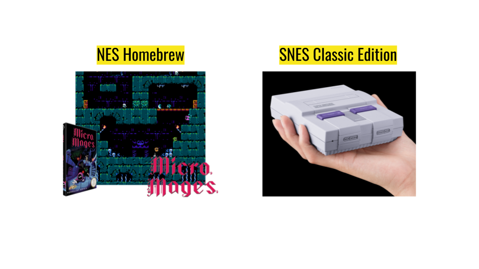 """a presentation slide that shows a NES homebrew called """"Micro Mages"""" and the SNES Classic Edition"""