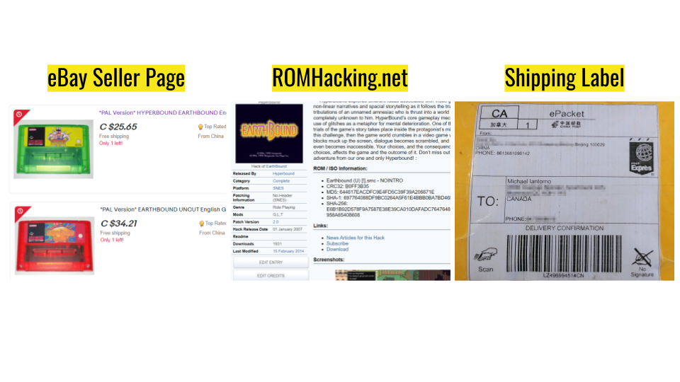 a presentation slide that shows an ebay seller page, ROMHacking.et, and a Shipping Label